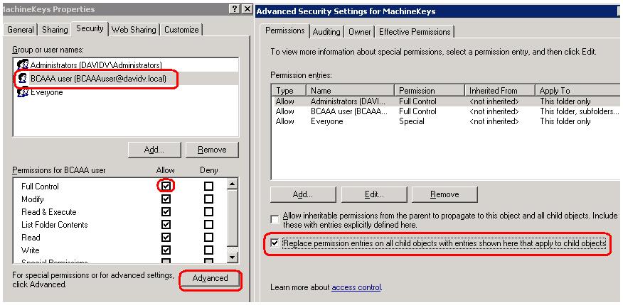 Machinekeys Folder Access Is Denied