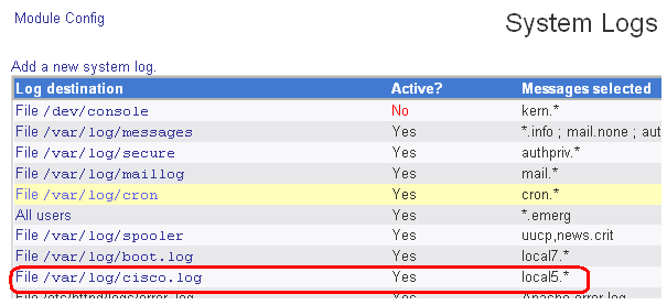 Easy cisco syslog monitoring using Webmin   David Vassallo's